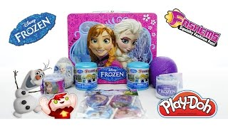 disney s frozen lunchbox with fashems chocolate play doh surprise eggs snap bands and more