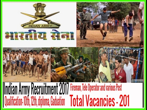 Indian Army Recruitment 2017, No Fees, 201 Fireman, Tele Operator and various Posts Apply Offline