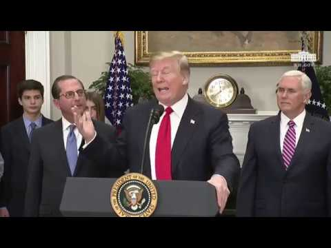 Trump Speaks As HHS Secretary Alex Azar Sworn In