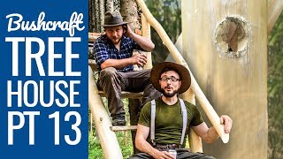 Bushcraft Treehouse 13: Stairs Handrail with No Rope, No Nails - Dowel and Wedge Technique