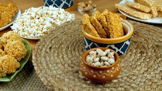 Closeup shot of delicious Lohri items served on Punjabi's Lohri festival in India
