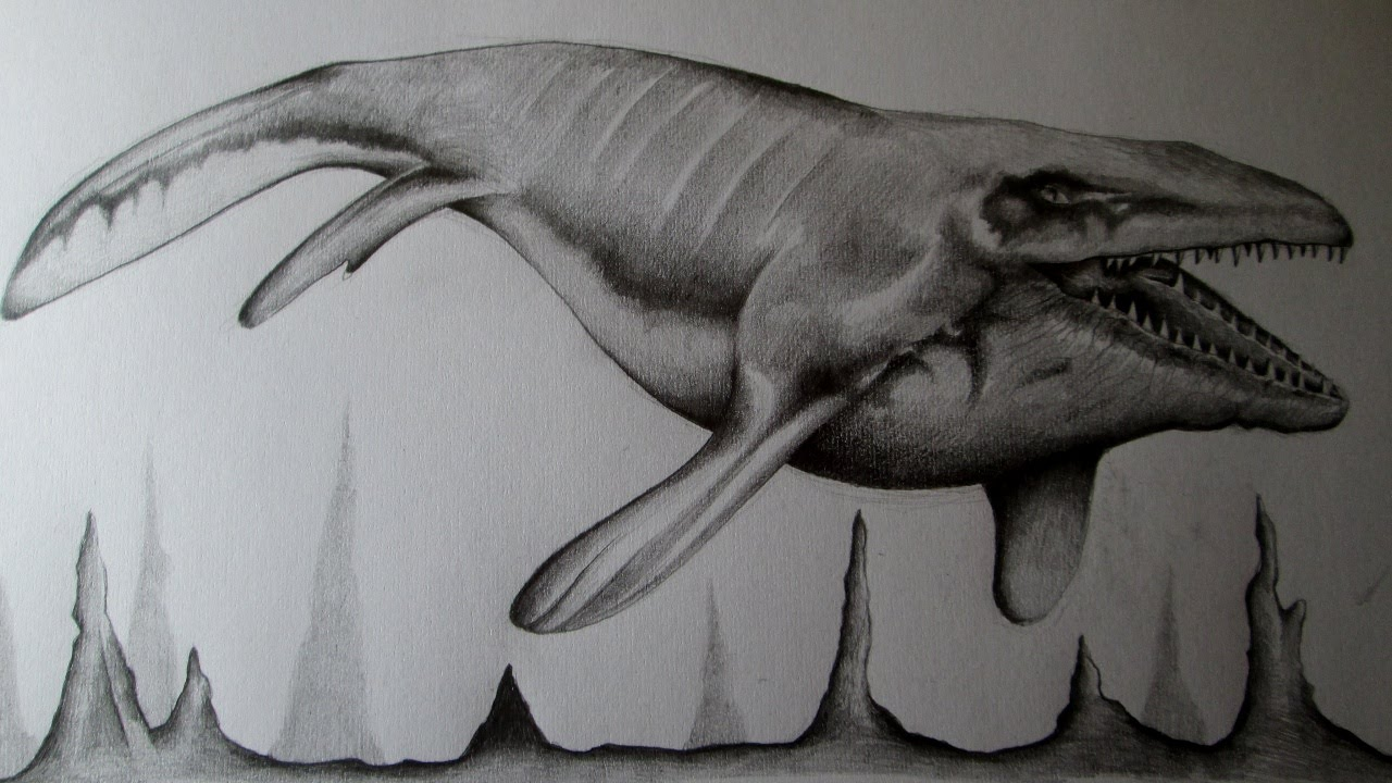 Jurassic World Amazing Drawing of Mussasaurus Fan Art Speed