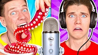 Download Guess That ASMR Sound w/ Octopus, Raw Honeycomb, DIY Slime & Aloe Vera Challenge Mp3 and Videos