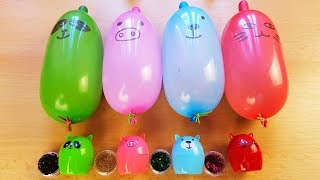 Making Slime With Funny Balloons With Glitter And Animals Lip Balm - Satisfying slime video
