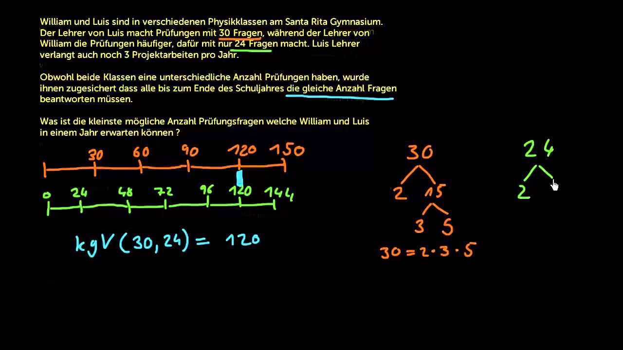 Textaufgaben zu kgV und ggT - YouTube