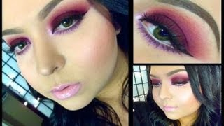 Look: Red Wine (Dark burgundy/maroon red smokey eyes with baby pink lips) Thumbnail