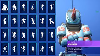 *NEW* BEASTMODE SKIN SHOWCASE WITH ALL FORTNITE DANCES & NEW EMOTES! (ALL Fortnite Season 8 SKINS)