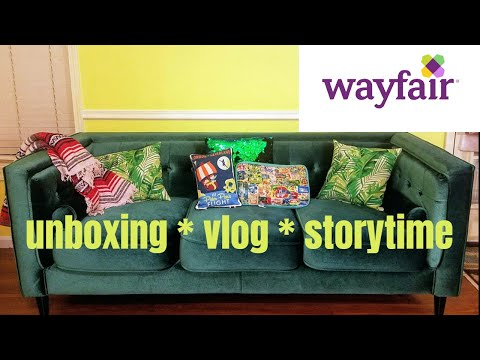 Unboxing EMERALD GREEN VELVET COUCH from WAYFAIR