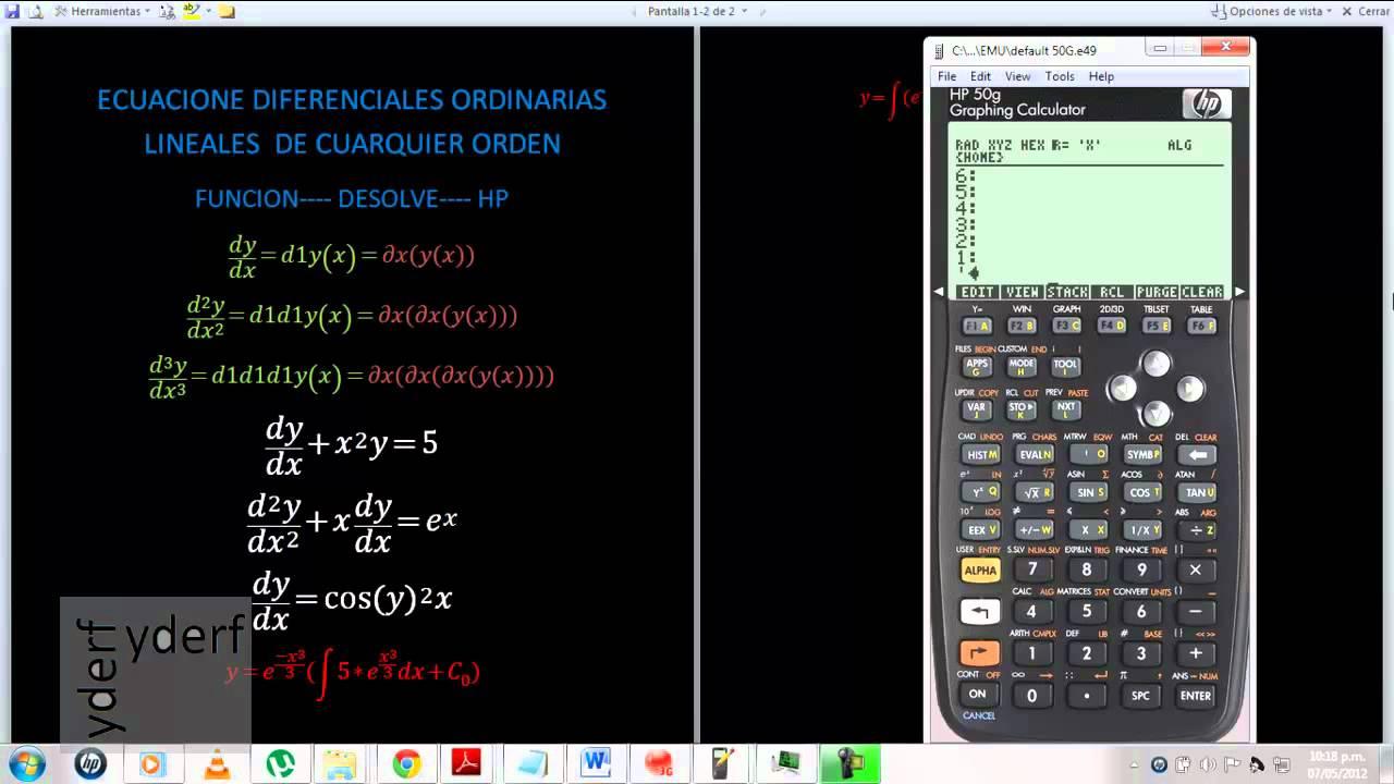 HP15G  Ecuaciones diferenciales funcion desolve .........hp15g