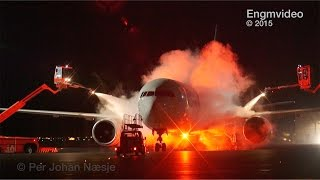 De-ice operations at night Oslo Airport Norway