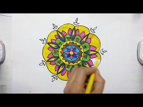 Rangoli drawing for kids   step by step drawing tutorial