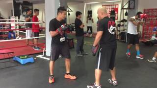 Donnie Nietes punches mitts for Edgar Sosa fight