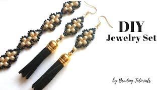 💖How to make an elegant jewelry set💖DIY Bracelet💖 DIY Earrings💖