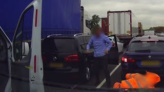 These two road raging drivers were caught on camera as they traded punches in traffic.