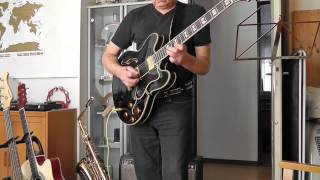 Demo Sheraton II Epiphone guitar Gitarre connected to Fender Deluxe reverb amp 1965 + Mustang II
