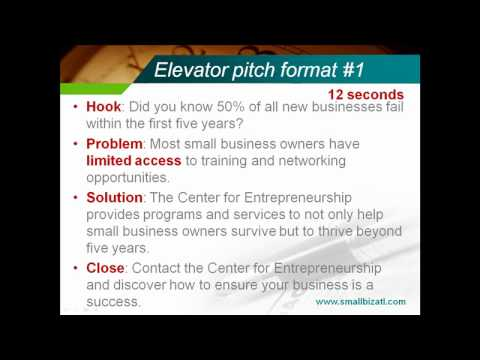 30 Second Elevator Pitch (Speech) - Youtube