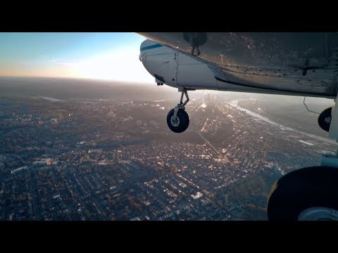 Fall evening flight over the Pittsburgh area with ATC audio