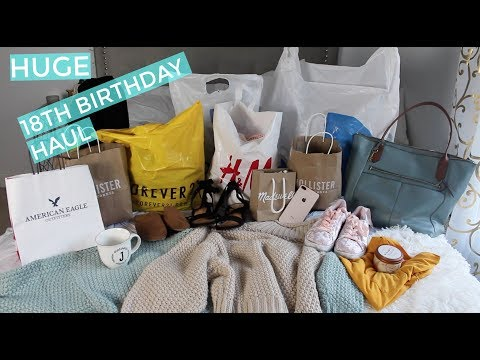 HUGE 18TH BIRTHDAY HAUL!!! | iPhone 8+, Madewell, Holister, H&M, Forever 21, + more!