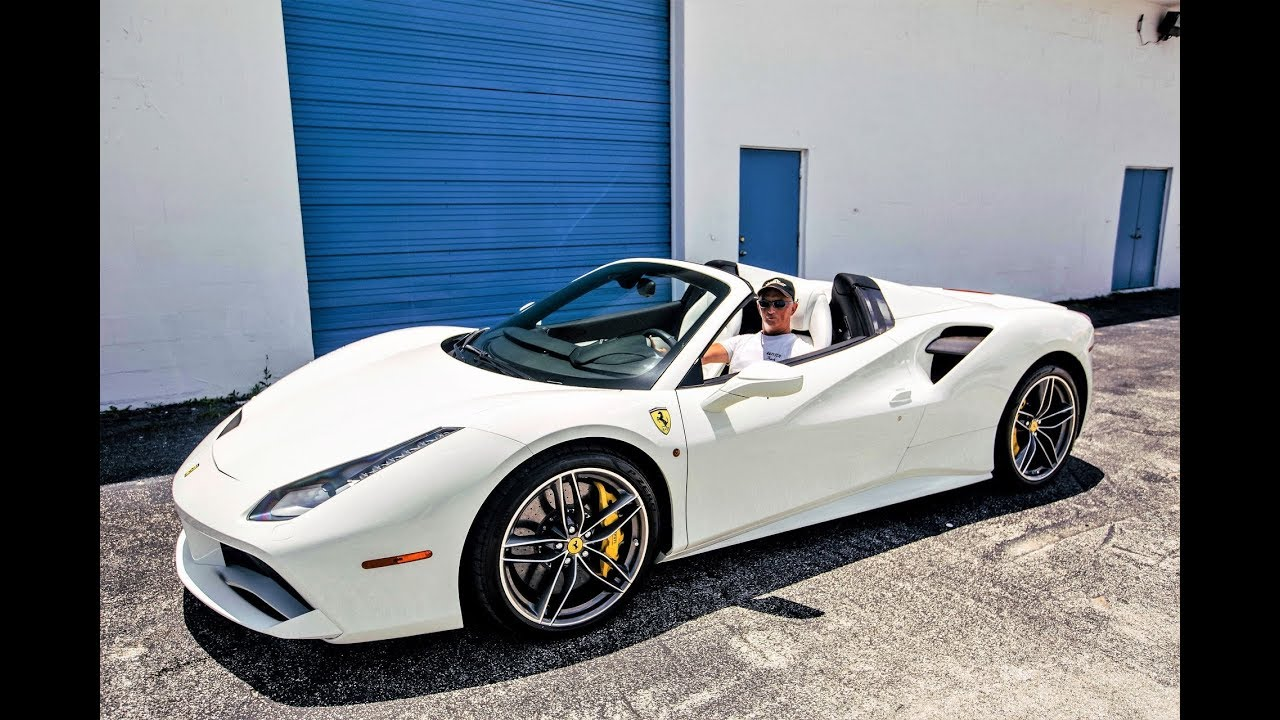Ferrari 488 Spider White on White Miami Style Topless Ride from Prestige  Imports Miami