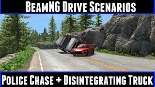 BeamNG Drive Scenarios Police Chase + Disintegrating Truck
