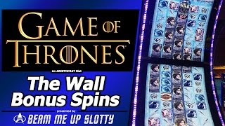 Game of Thrones slot - The Wall Bonus Feature in New Aristocrat Arc-Double game(The Wall bonus in Aristocrat's Game of Thrones slot, the latest game in their super-tall Arc-Double cabinets. 2 vertical curved screens stacked on top of each ..., 2016-01-19T16:30:00.000Z)