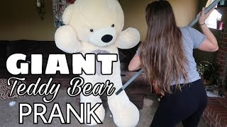 GIANT TEDDY BEAR PRANK ON GIRLFRIEND!!!