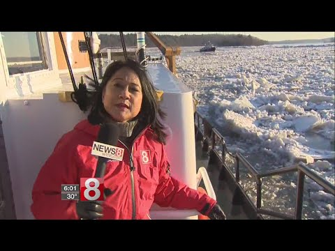 Two Coast Guard icebreakers tackle the frozen Connecticut River