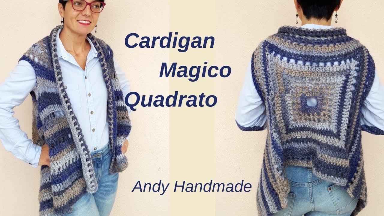 Cardigan Magico Quadrato Gilet Lungo Uncinettofacile