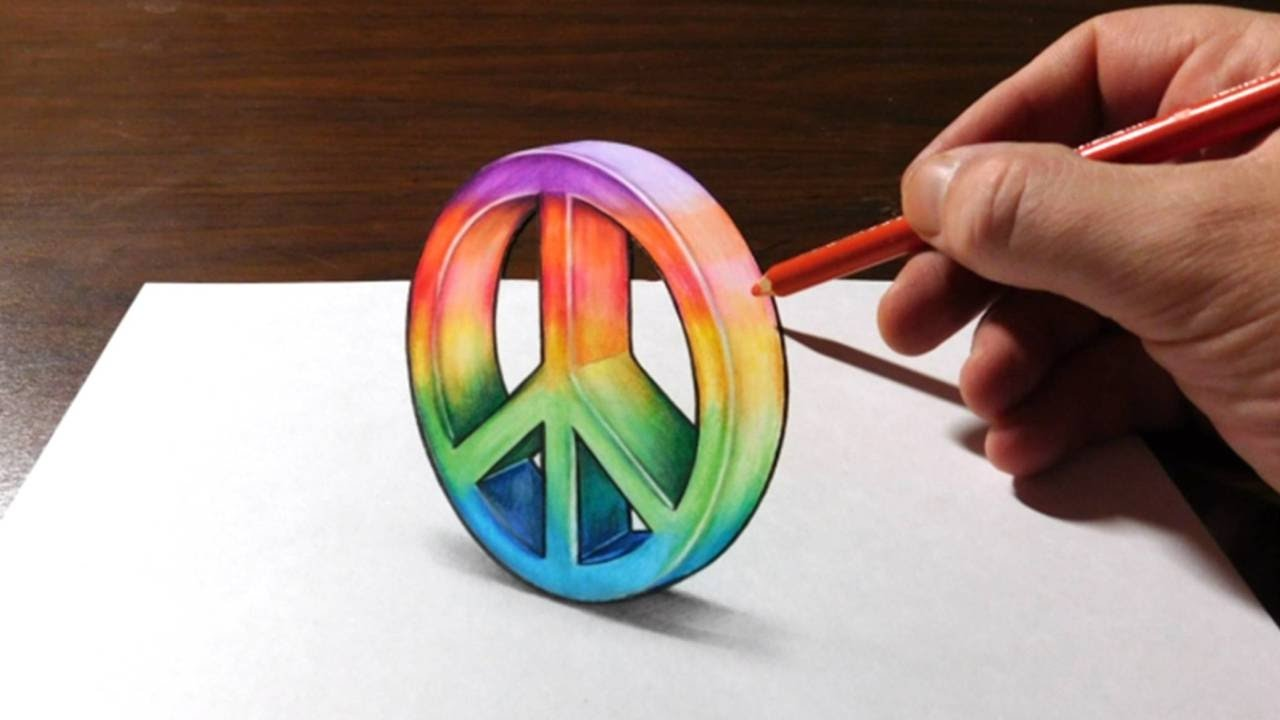 Drawing A 3d Peace Sign Peaceisloud Youtube