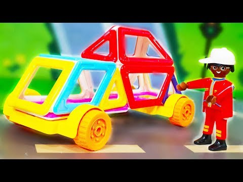 Мультик про машинки. Медведь Мишка и Петрович в мультике - Магнитный конструктор. Видео для детей