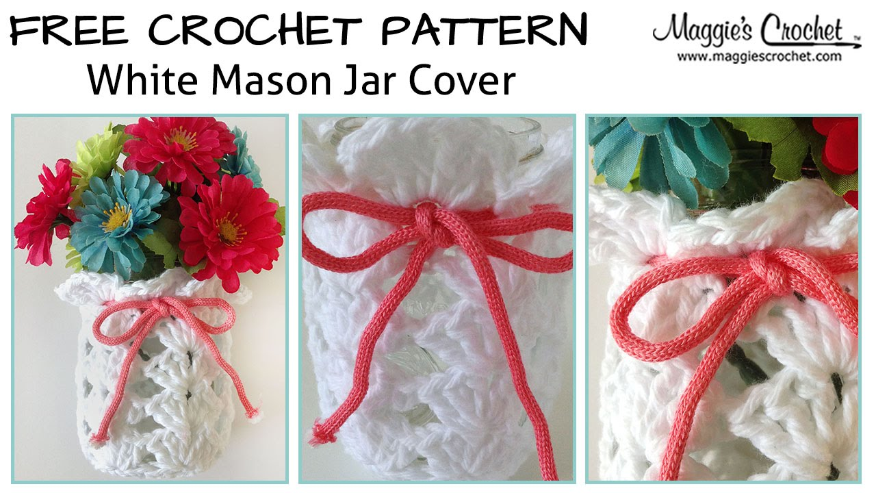 White Mason Jar Cover Free Crochet Pattern - Right Handed ...