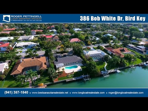 Stunning waterfront estate for sale on Bird Key with pool and deep-water dock