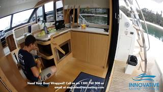 Interior boat design upgrade using 3M DINOC wood grain vinyl to cover damaged wood laminate