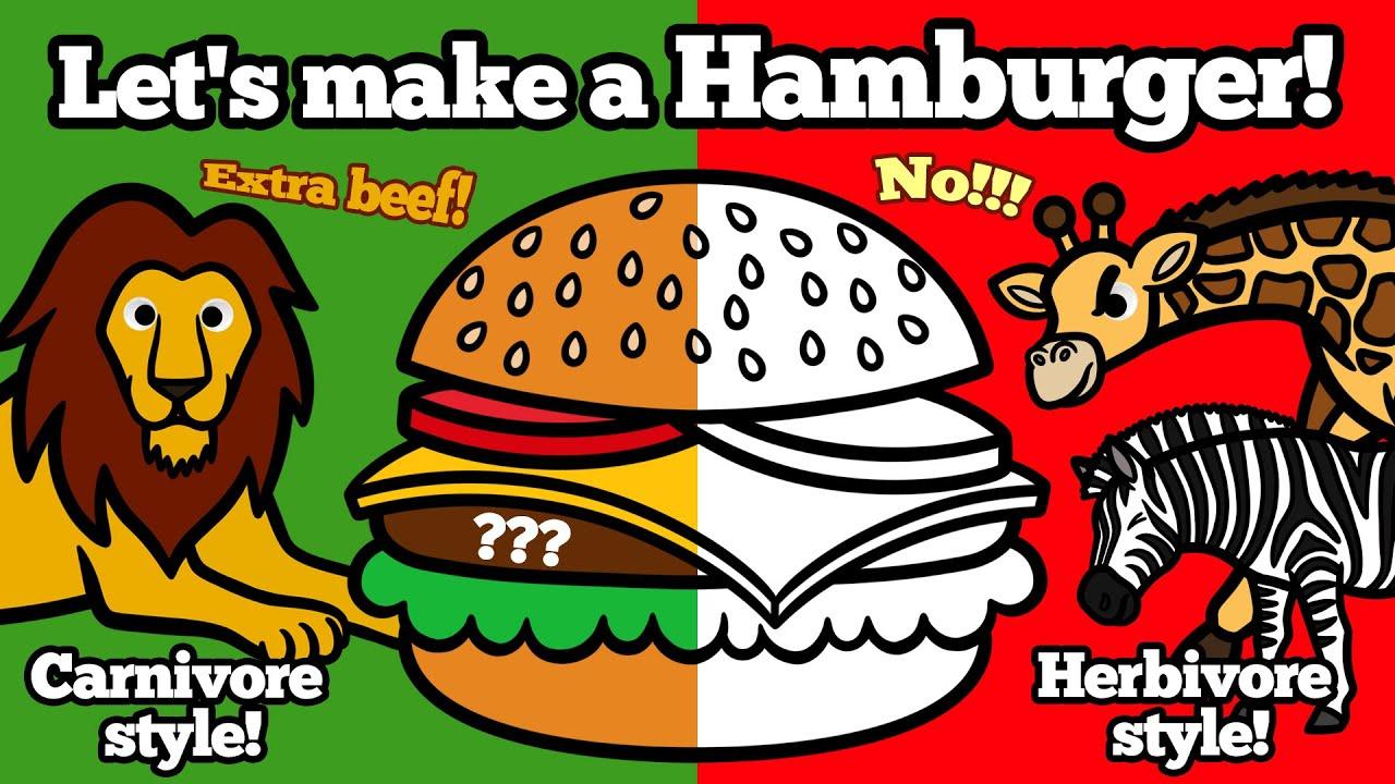 Wild Safari Animals make a Hamburger Together!   Learn Zoo Animals for Kids   Educational Video