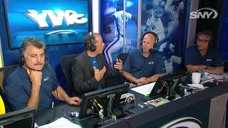 Comedian and die-hard new york mets fan jerry seinfeld pays a visit to the sny booth on night at citi field, celebrate 30th anniversary of th...