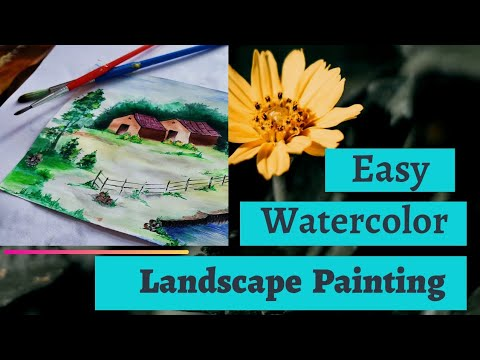 Easy watercolor landscape painting