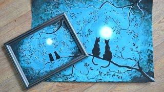Как поэтапно нарисовать котов при луне?
