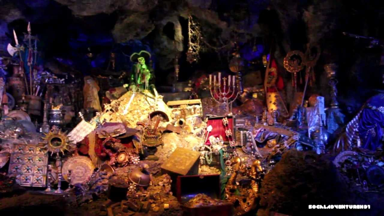 Lights On Pirates Of The Caribbeans Ride At Disneyland