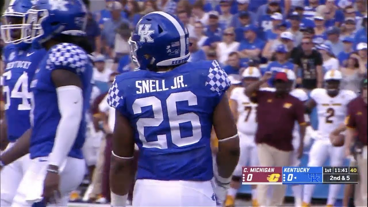factory authentic 1505e 7b851 Benny Snell (Kentucky RB #26) Vs. Central Michigan 2018