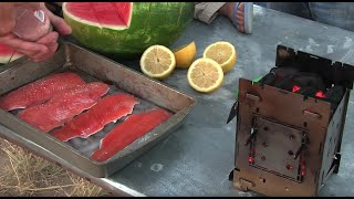(short) Firebox Stove Grilled Trout / Lake Fishing With Grandpa