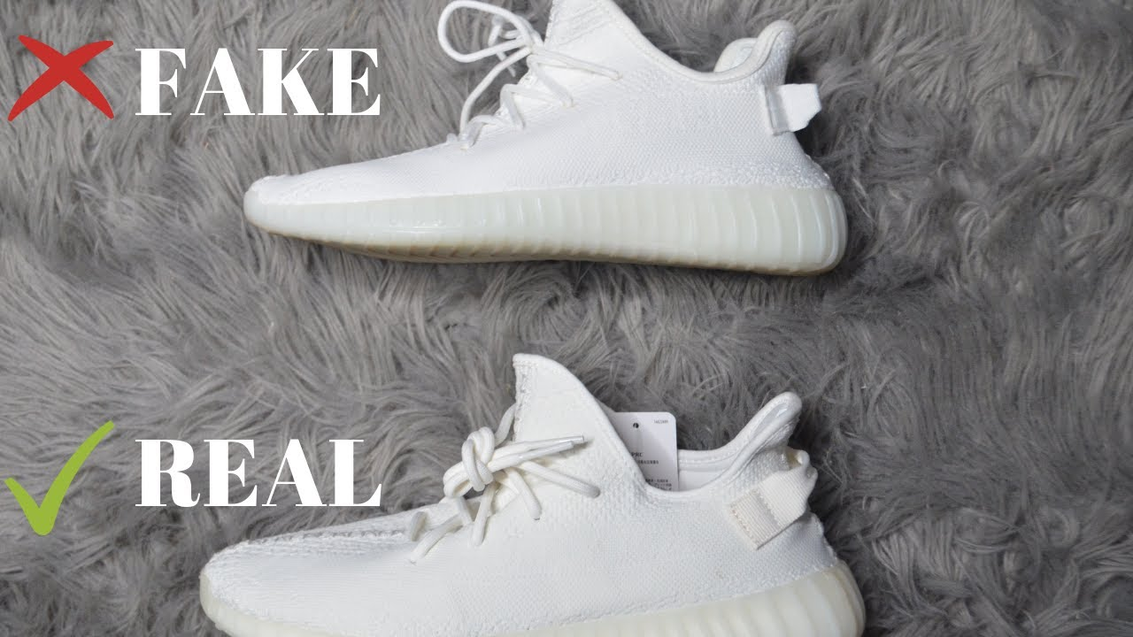 e03b6eb26 YEEZY BOOST 350 V2 CREAM WHITE TRIPLE WHITE - Real Vs. Fake - YouTube