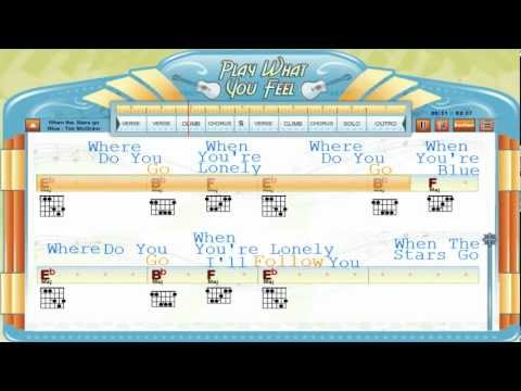 When The Stars Go Blue - Tim McGraw - Chords & Lyrics, Lesson, Guitaraoke - playwhatyoufeel.com