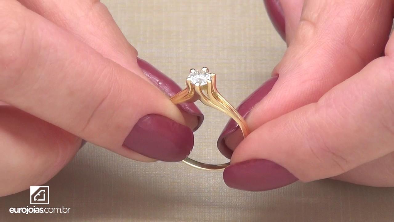 538a7534b3e04 Anel Solitário com Diamante de 40 Pontos