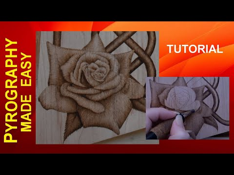 Stylized Rose Pyrography Tutorial shading techniques in wood burning
