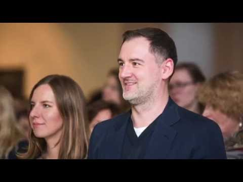Vilius Kavaliauskas Lewben at the opening of the exhibition
