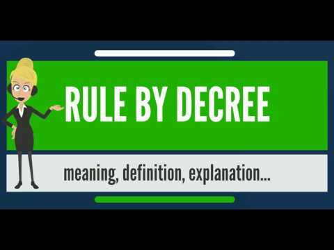 What is RULE BY DECREE? What does RULE BY DECREE mean? RULE BY DECREE meaning & explanation