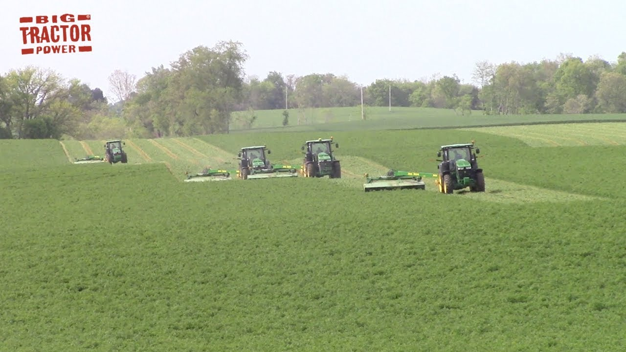 First Cut Hay: Fleet of 4 John Deere Tractors & MoCo Mowers