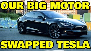 We swapped a BIGGER motor into a Tesla and what happened was pretty insane