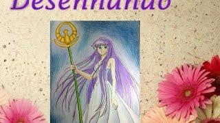 2  - Desenhando - Speed draw & painting anime - Saori Kido  Athena - Cavaleiros dos Zoodíacos