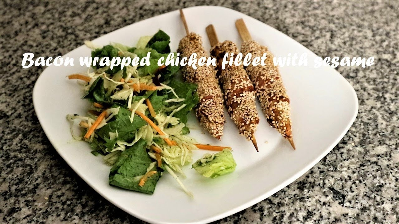Bacon wrapped chicken fillet with sesame recipe - YouTube